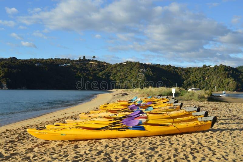Kayaks in the beach stock photos