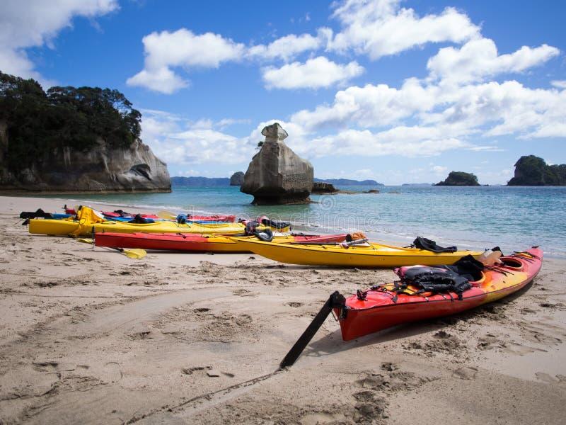 Kayaks @ Cathedral Cove, Coromandel, New Zealand stock image