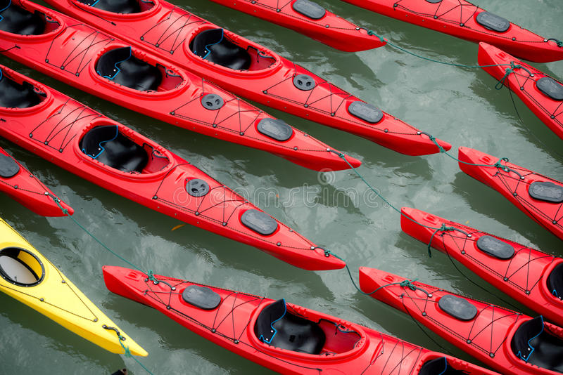 Kayaks color images stock