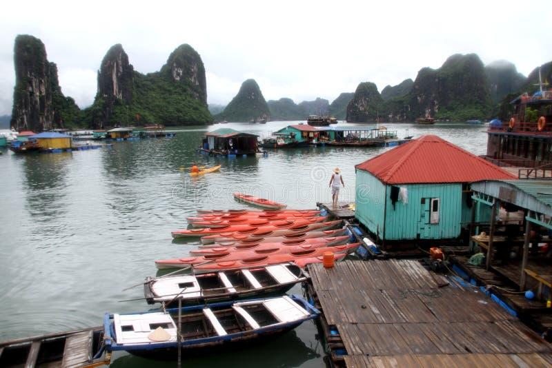 Kayaks dans le compartiment de Halong, Vietnam photographie stock libre de droits