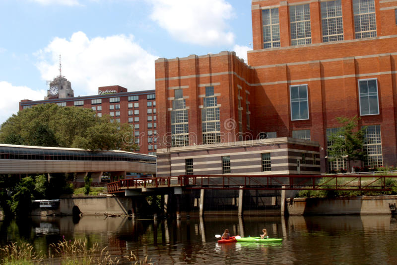 Kayaks on the Grand River stock image