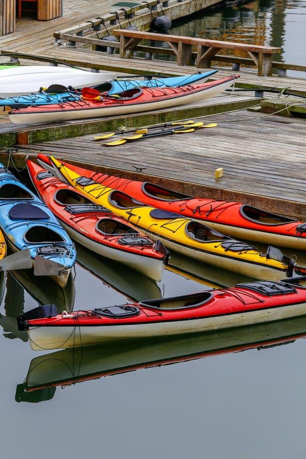 Kayaks on Ketchikan, Alaska stock photo