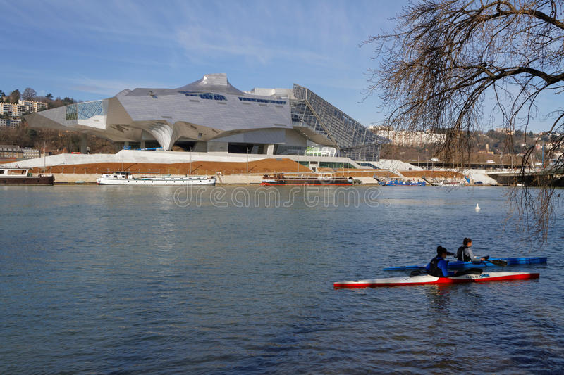 Kayaks and Museum. LYON, FRANCE, February 28, 2015 : Musee des Confluences is a science and anthropology museum which opened on 20 December 2014 at the royalty free stock image