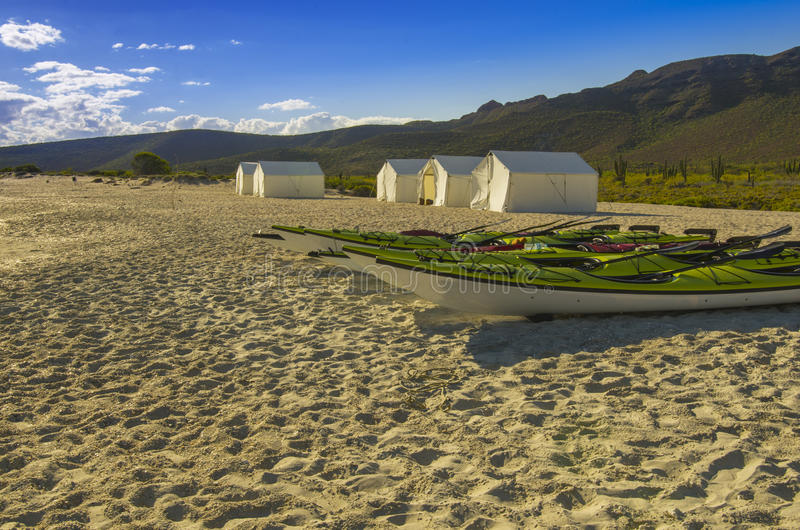 Kayaks rest on beach with camping tents and desert background. Green and red kayaks sit on the sandy beach with desert, cactus and camp tents in the background stock images