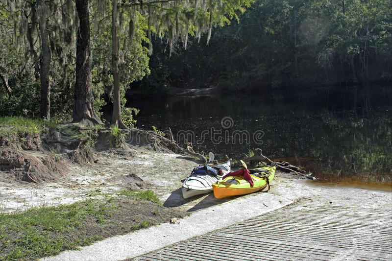 Kayaks on the Sante Fe. Traveling down the Sante Fe River in kayaks near High Springs, Fl royalty free stock image