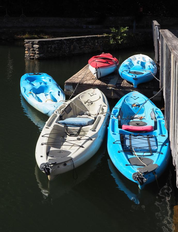 Kayaks, Tied to the Dock Ready for Launch royalty free stock photos