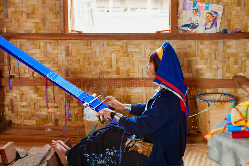 Kayan Lahwi Padaung people wearing brass coils on long neck royalty free stock image