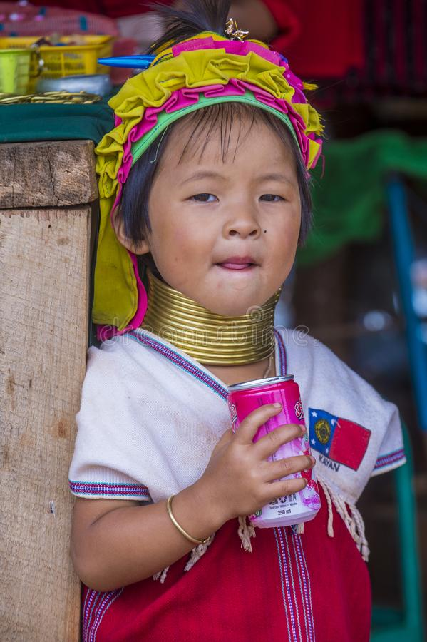 Portrait of Kayan tribe woman in Myanmar stock image