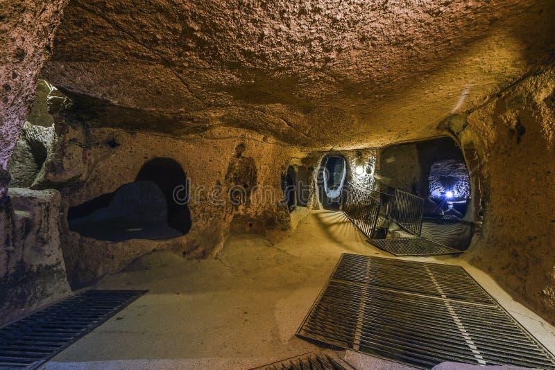 Kaymakli地下市在Kaymakli城堡内包含在土耳其的中部安那托利亚地区 库存照片
