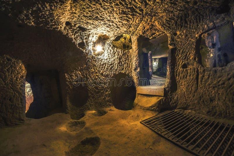 Kaymakli地下市在Kaymakli城堡内包含在土耳其的中部安那托利亚地区 免版税库存图片