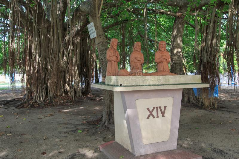 Statues at St. Peter`s Church - Kayt - Jaffna - Sri lanka. Kayts is one of the important villages in Velanai Island which is a small island off nthe coast of the stock photos
