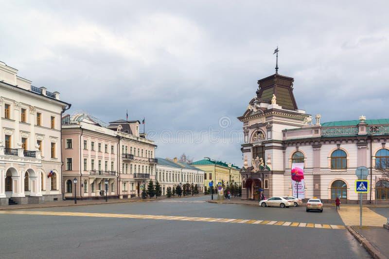 Kazán, Rusia - 26 de marzo 2017 Museo Nacional y Comité Ejecutivo en la calle del Kremlin imagen de archivo libre de regalías