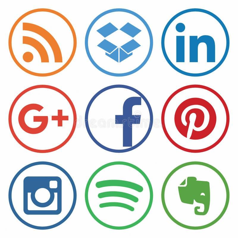 KAZ?N, RUSIA - 26 de octubre de 2017: Colecci?n de logotipos sociales populares de los medios impresos en el papel libre illustration