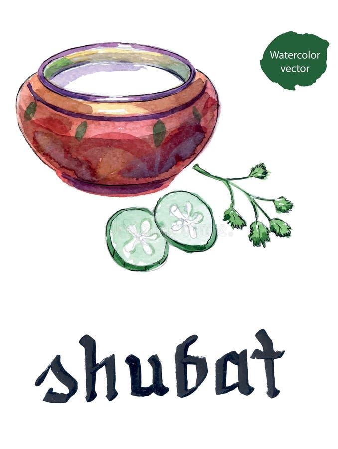 Kazach kuchnia, puchar shubat lub fermentujący wielbłąda mleko, ilustracja wektor