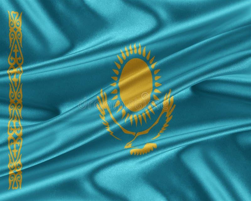 Kazachstan flaga z glansowaną jedwabniczą teksturą royalty ilustracja