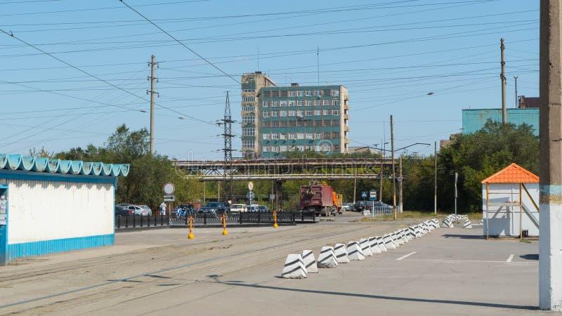 kazachstan Metallurgische installatie Arcelor Mittal in de stad van Temirtau stock fotografie