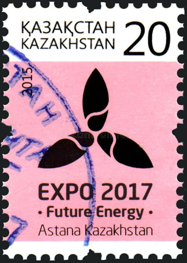 KAZACHSTAN - OKOŁO 2015: Stempluje drukowanego w Kazachstan poświęcać międzynarodowego powystawowego expo ` 2017 Przyszłościowego fotografia stock