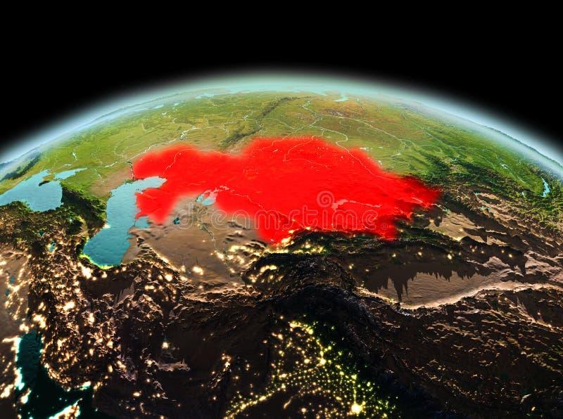 Kazachstan op aarde in ruimte stock illustratie