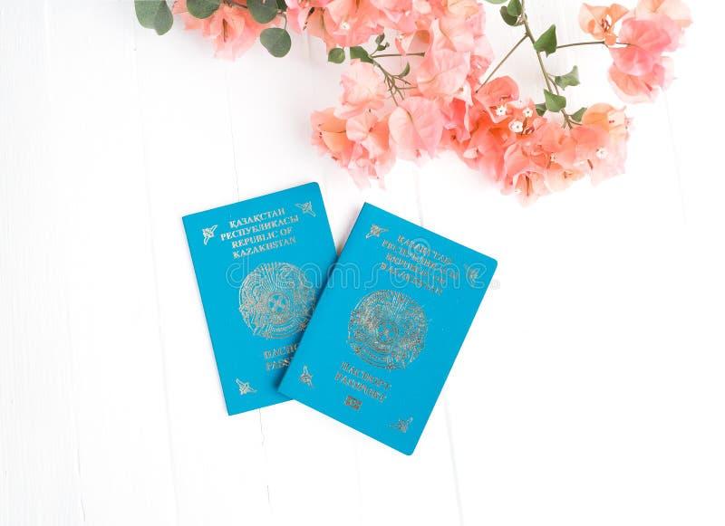 Kazachstan paszport, różowy bougainvillea na białym tle Odgórny widok obraz stock