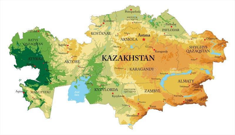 Kazachstan reliefowa mapa ilustracja wektor