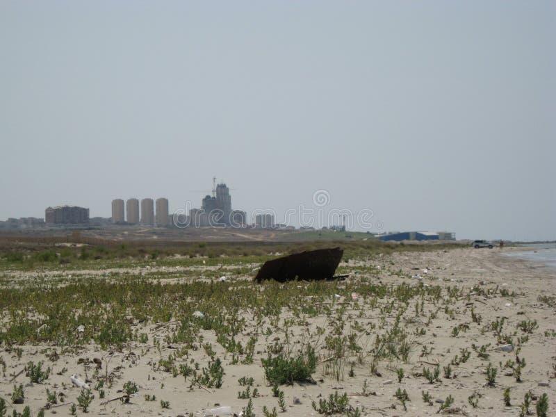 Kazajistán del oeste La orilla del mar Caspio fotografía de archivo