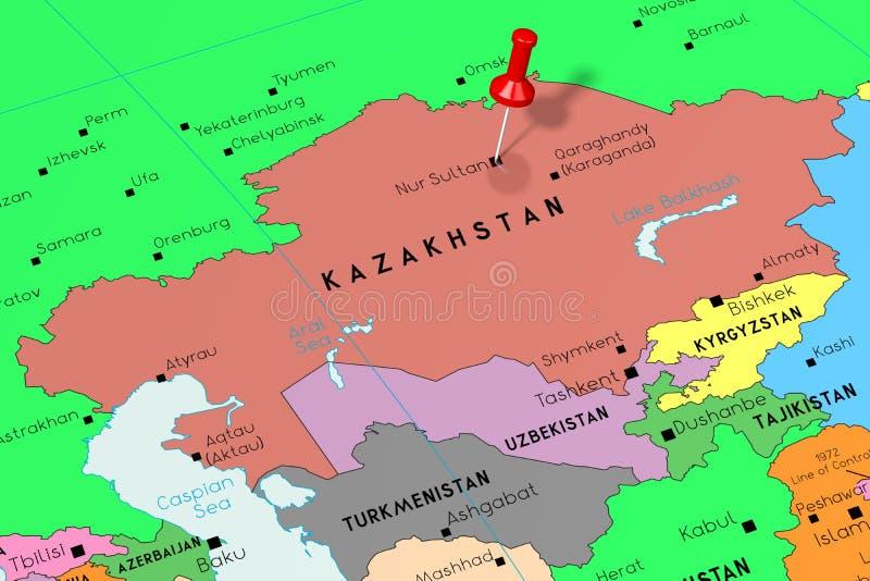 Kazajistán, Nur-sultán - capital, fijado en mapa político libre illustration