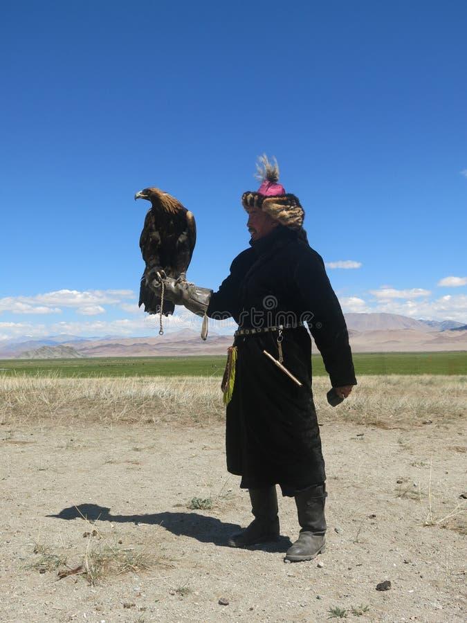 Kazakh adelaarsjager royalty-vrije stock afbeeldingen