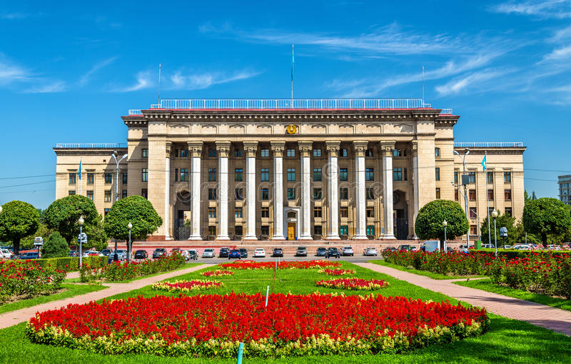 Kazakh-British technical University in Almaty, Kazakhstan. Former government house. royalty free stock images