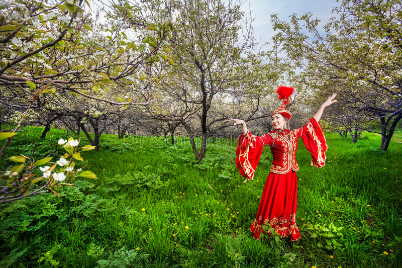 Kazakh dancer in traditional costume royalty free stock photography