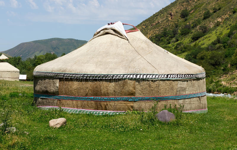 Kazakh Ger Camp tent yurt. Traditional Ger (yurt) tent in Kazakh mountains royalty free stock images