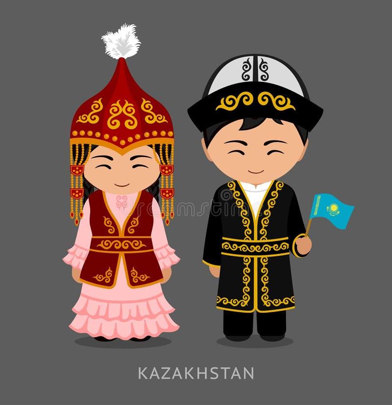 Kazakhs en vestido nacional con una bandera stock de ilustración