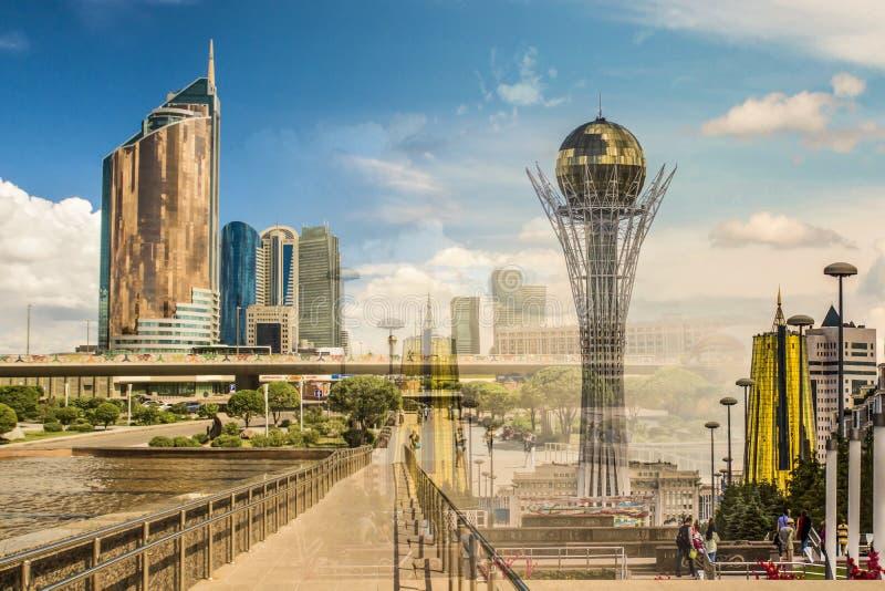 kazakhstan astana Bulevar de Nurzhol collage imagens de stock royalty free