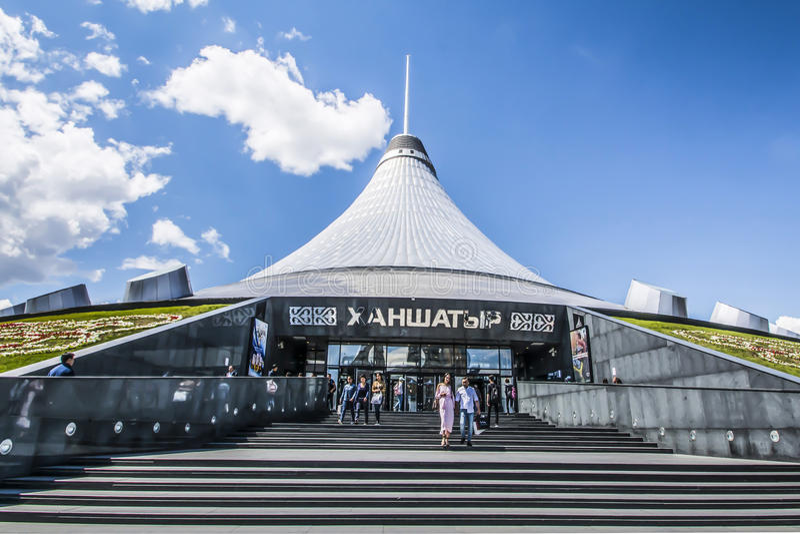 kazakhstan astana Köpcentrum`-Khan Shatyr `, royaltyfri foto