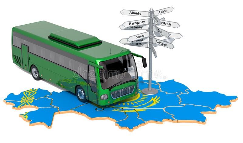 Kazakhstan Bus Tours concept. 3D rendering. Isolated on white background stock illustration