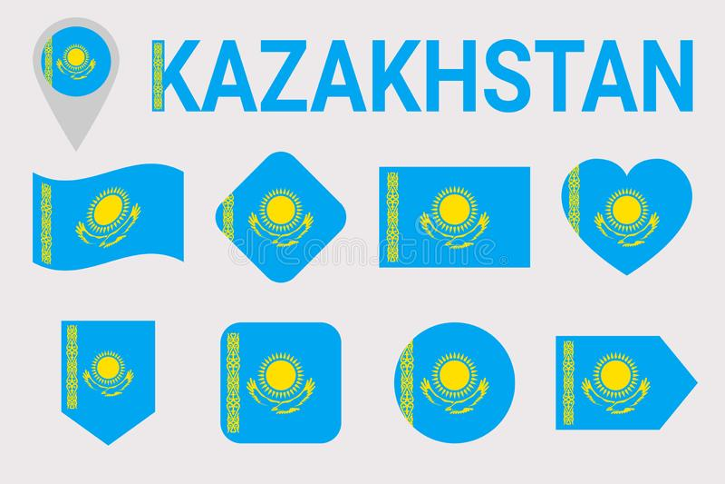 Kazakhstan, ensemble de vecteur de drapeau Différentes formes géométriques Style plat Collection kazakh de drapeaux Peut employer illustration de vecteur