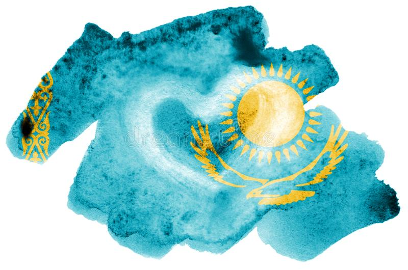 Kazakhstan flag is depicted in liquid watercolor style isolated on white background royalty free stock photography