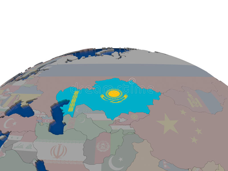 Download Kazakhstan With Flag Stock Illustration - Image: 83718470