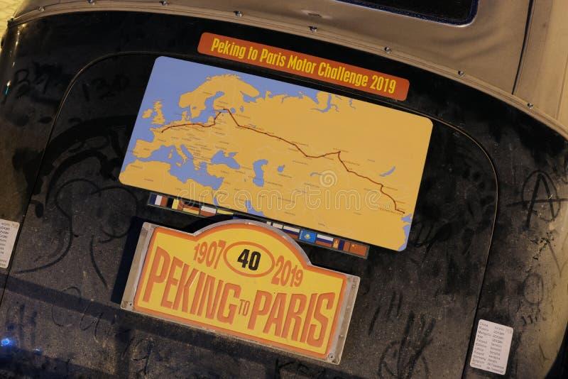 Kazakhstan, Kostanay, 19-06-19, la plus grande aventure circulante en voiture - Pékin vers Paris Carte avec l'itinéraire des voit image libre de droits