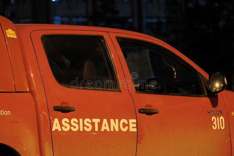 Kazakhstan, Kostanay, 19-06-19, partie des préposés de voiture rouges et emballage automatique international d'orbinizator Pékin  photos libres de droits