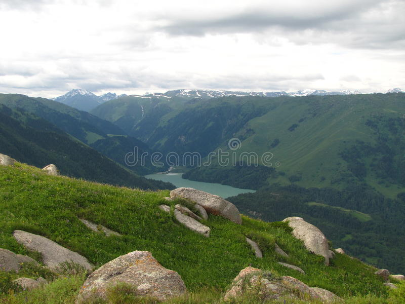 Kazakhstan Landskape. Mountain Lake шт Djungaria area, far away from popular travel path in Kazakhstan royalty free stock images