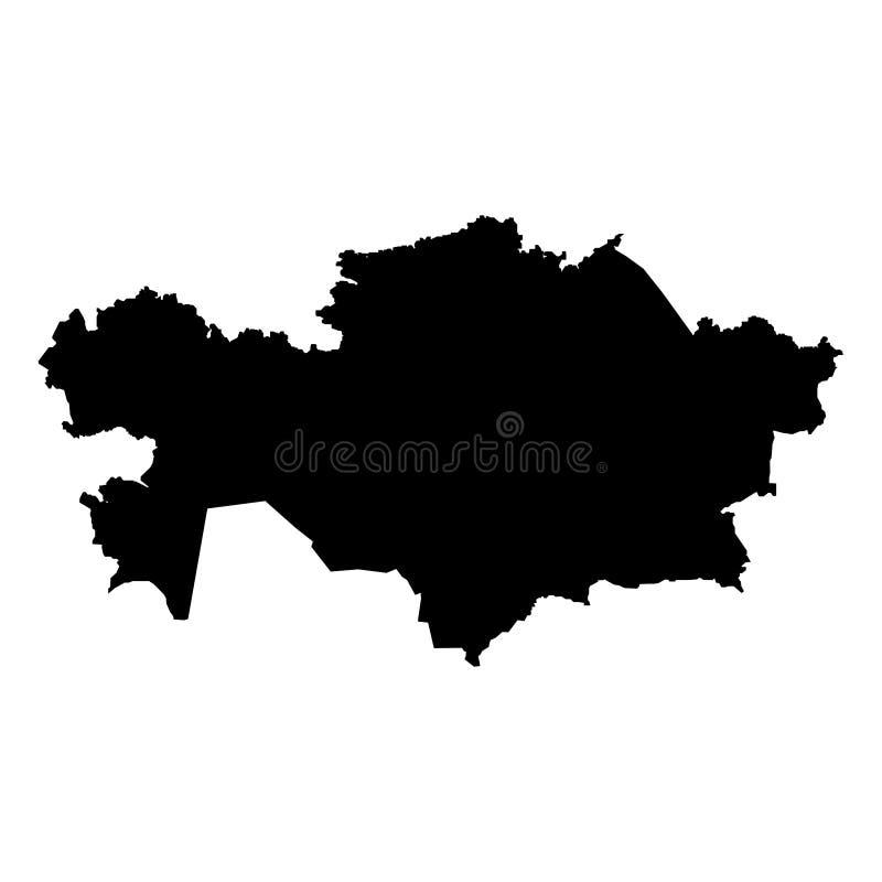 Kazakhstan map filled in black color sign. Eps ten vector illustration