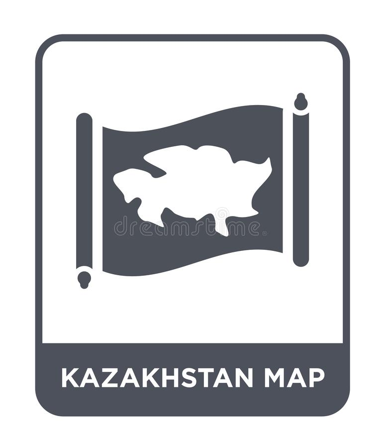 Kazakhstan map icon in trendy design style. kazakhstan map icon isolated on white background. kazakhstan map vector icon simple. And modern flat symbol for web stock illustration