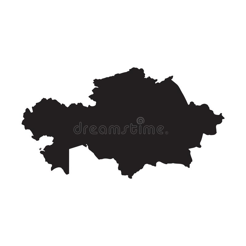Free Kazakhstan Map Vector, Isolated On White Background. Black Map Template, Flat Earth. Simplified, Generalized World Map With Round Royalty Free Stock Photos - 173743678
