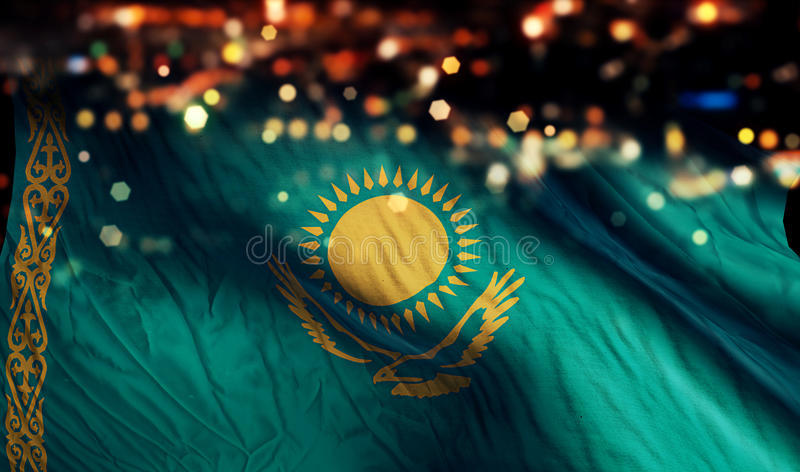Kazakhstan National Flag Light Night Bokeh Abstract Background royalty free stock images