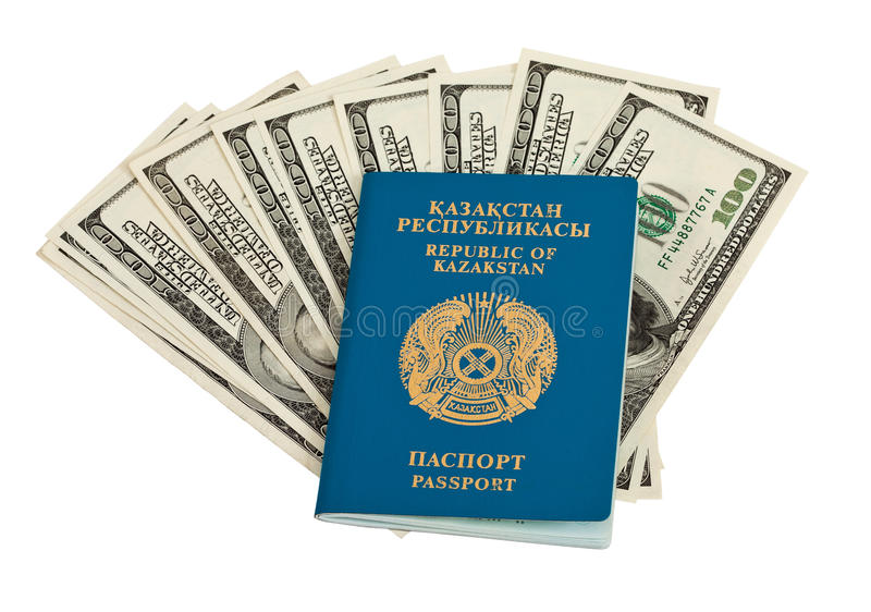 Kazakhstan passport and money. Isolated on white background stock photos