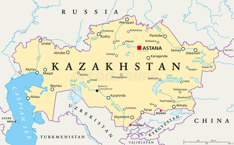 Kazakhstan Political Map stock vector Illustration of cartography
