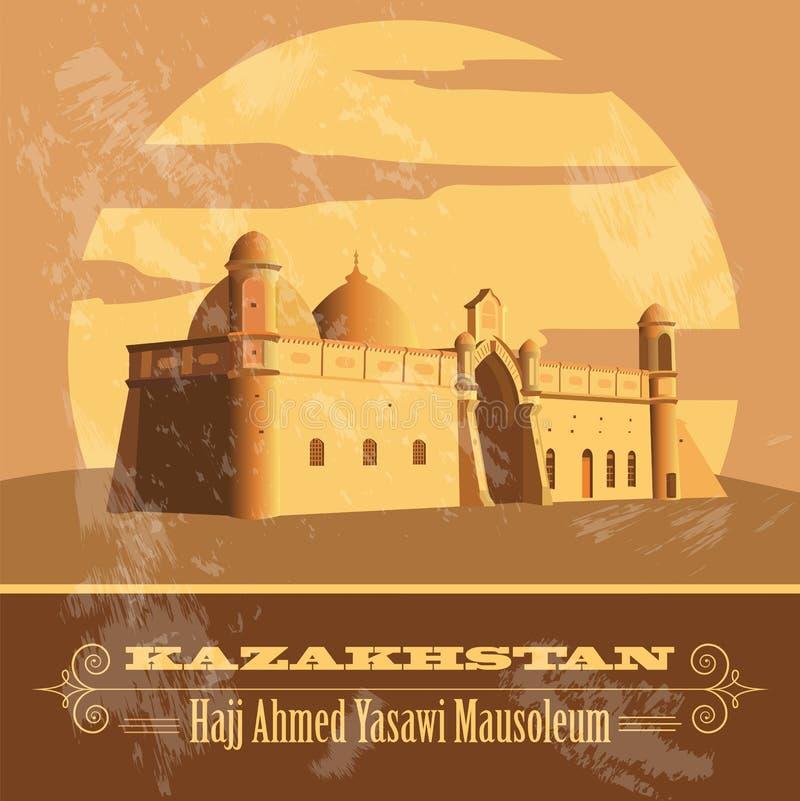 kazakhstan Retro utformad bild royaltyfri illustrationer