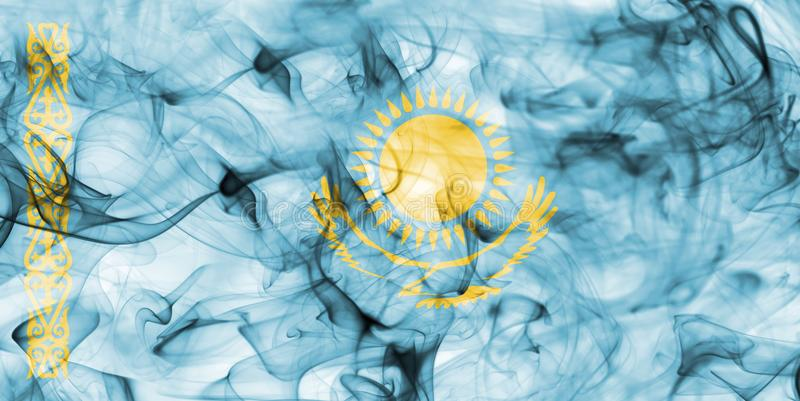 Kazakhstan smoke flag isolated on a white background. stock photography