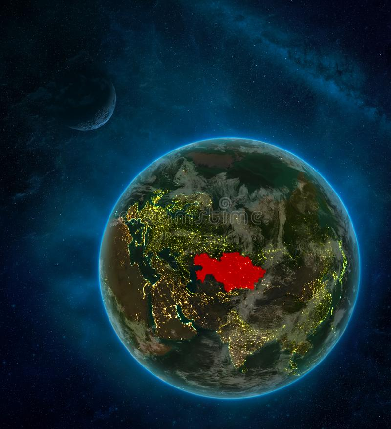 Kazakhstan from space on Earth at night surrounded by space with Moon and Milky Way. Detailed planet with city lights and clouds. 3D illustration. Elements of stock illustration