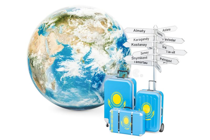 Kazakhstan travel concept. Suitcases with signpost and Earth Globe, 3D rendering. Kazakhstan travel concept. Suitcases with signpost and Earth Globe, 3D stock illustration